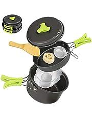 Ballery Camping kookgerei, draagbare kookset, 8 stuks potpan set met mesh tas voor outdoor camping wandelen picknick