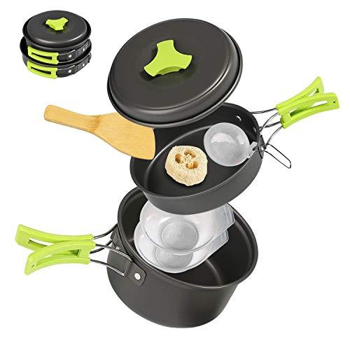 Ballery Campeggio pentole, Portable Cooking Kit, 8 Pezzi Set pentole Zaino con Sacca a Rete per Escursionismo Campeggio Picnic