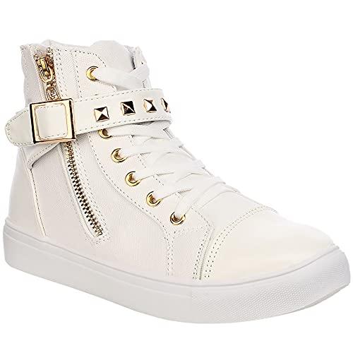 wealsex Zapatilla Alta para Mujer Botas Botines Alta Zapatos Deportivos Lace-up Sneakers (Blanco,37)