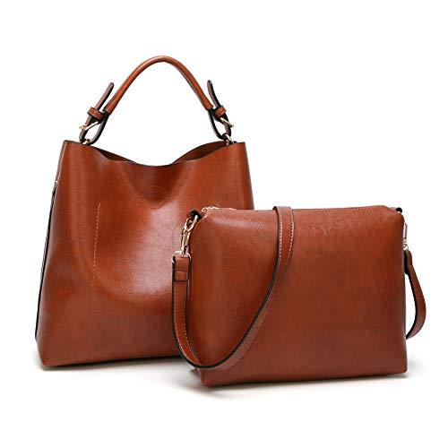 BAGTECH Donna Borsa Hobo PU Pelle Borse a Mano Modo Handbag Borsa a Spalla Set (Marrone)
