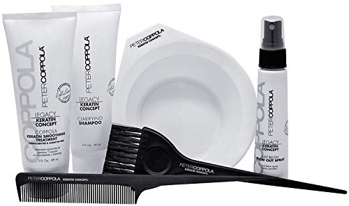 Peter Coppola Keratin Hair Treatment Kit - At Home Keratin Treatment - Includes: Treatment (3oz) Shampoo (3oz) Bowl, Just Blow Spray (3oz), Brush and Comb. Straightens and Smooths All Hair Types