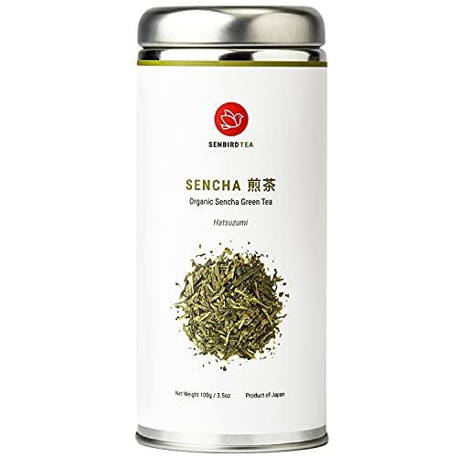 Senbird Organic Sencha Green Tea - Hatsuzumi Sencha | 100g Japanese Classic Green Tea Fukamushi Sencha From Shizuoka, Japan | Organic Japanese Loose Leaf Green Tea in Airtight Tea Tin