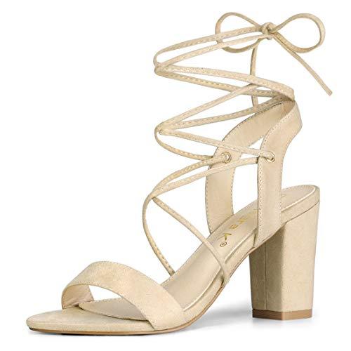 Allegra K Damen Slingback Lace Up Blockabsatz High Heels Sandalen Beige 37.5