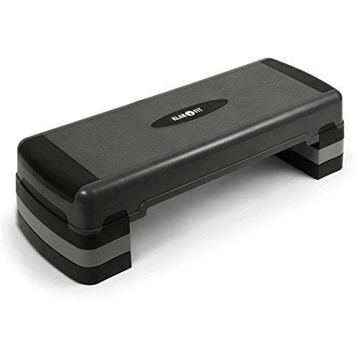 Klarfit Aerobic step (gradino per fitness, 250kg, regolabile in tre altezze, supporto antiscivolo, antigraffio, antirumore, sistema Klick) - nero