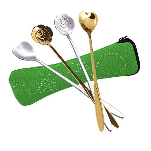 SwirlColor Cucchiaini Lunghi, Cucchiaio Confettata Acciaio Inossidabile Argento Oro Cucchiai a Forma di Cuore Rosa per caffè tè Frappè Dessert Gelato 4 Pezzi, con Sacchetto per Posate 1 Pezzo