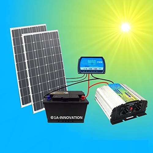 Système solaire complet 200 W 220 V TÜV Batterie 100 Ah sans entretien 2 x 100 W Panneau solaire haute performance 1000 W