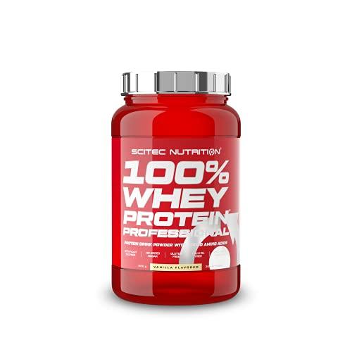 Scitec Nutrition 100% Whey Protein Professional con aminoácidos clave y enzimas digestivas adicionales, sin gluten, 920 g, Vainilla