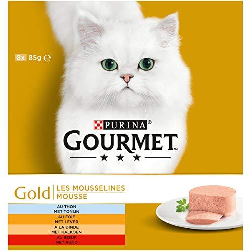 Gourmet Gold Mousse Kattennatvoeding met Tonijn, Lever, Kalkoen, en Rund,  8 x 85g - doos van 6 (48 blikjes; 4,08kg)