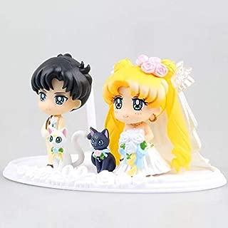 Princess Sailor Moon Figure Lune Mamoru Chiba Action Figure Pretty Good Blessing Wedding Cake Decoration Romantic Lovers Room Decorations Valentine Gift Guardian Comic Cartoon Kids Toy Gift 2~4.5 cm