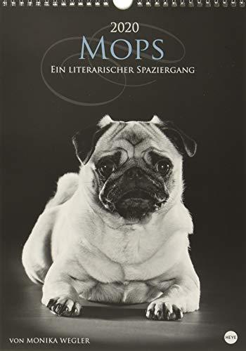 Mops - Ein literarischer Spaziergang. Wandkalender 2020. Halbmonatskalendarium. Spiralbindung. Format 25 x 35,5 cm