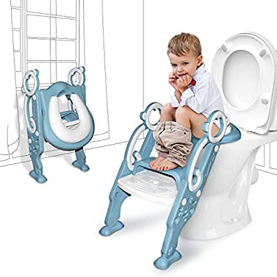 GrowthPic Toddler Toilet Seat with Step Stool Ladder for Boy and Girl Baby, Potty Training Seat Kid's Toilet Trainer Seat Chair with Splash Guard by GrowthPic
