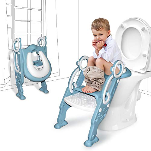 GrowthPic Toddler Toilet Seat with Step Stool Ladder for Boy and Girl Baby, Potty Training Seat Kid's Toilet Trainer Seat Chair with Splash Guard