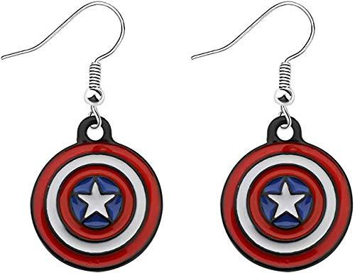 Capitan America orecchino Marvel Supereroe orecchini regali scudo ciondolo gioielli per fan Marvel e Lega, colore: Orecchino Capitan America, cod. U