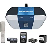 Chamberlain Group B1381T Chamberlain B1381 Bright LED Lighting Smartphone-Controlled Ultra-Quiet & Strong Belt Drive Garage Door Opener with Battery Backup & Max Lifting Power, 1.25 hp, Blue