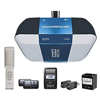 Chamberlain B1381T Smart Garage Door Opener- Battery Backup - Bright LED Lighting - myQ Smartphone Controlled - Ultra Quiet Strong Belt Drive and MAX Lifting Power,1.25 HP Wireless Keypad Incl Blue