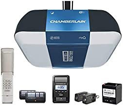 Chamberlain B1381T Smart Garage Door Opener- Battery Backup - Bright LED Lighting - myQ Smartphone Controlled - Ultra Quiet, Strong Belt Drive and MAX Lifting Power,1.25 HP, Wireless Keypad Incl, Blue