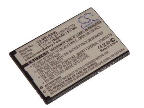 vhbw Li-Ion Akku 1500mAh (3.7V) für Handy, Smartphone, Telefon Elson Mobistel EL400, EL400 Dual wie BTY26170.