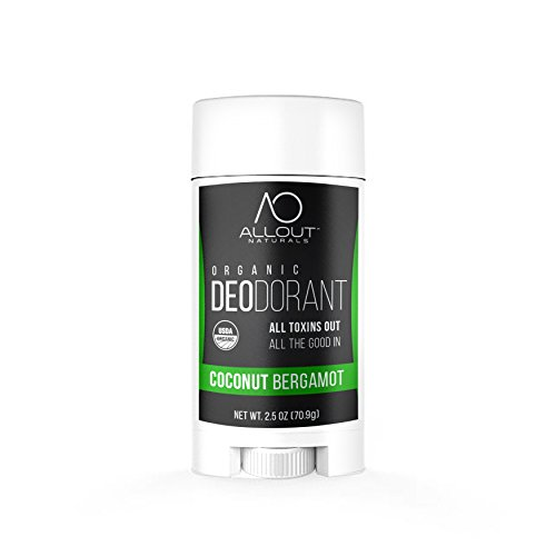 All Out Naturals Organic Deodorant, Best Natural Deodorant for Women and Men, For Sensitive Skin, Aluminum Free, Vegan, Non Toxic, 2.5 oz Stick (Coconut Bergamot)