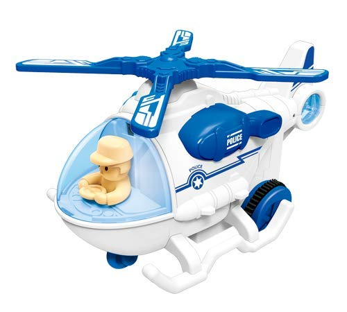pluspoint police helicopter 11 with lights sounds push and go includes rescue basket durable 1:20 scale friction kids swat chopper pretend play cop airplane toy for boy girl toddlers (mini helicopter)- Multi color