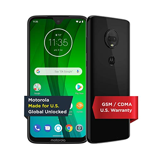 Moto G7 with Alexa Hands-Free  Unlocked  64 GB  Ceramic Black (US Warranty)  Verizon, AT&T, TMobile, Sprint, Boost, Cricket, & Metro