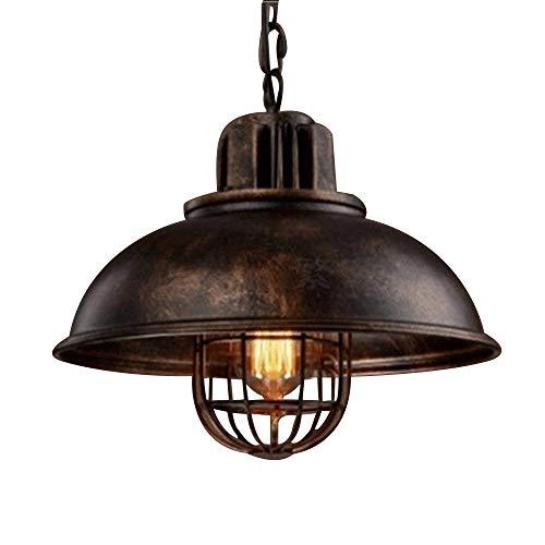 NIUYAO Lampada a Sospensione Paralume con Griglia Metallo Lampadari Stile Retro Industriale Ceiling Light 1 Luce-Rust