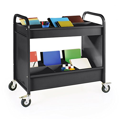 Heavy Duty 4-Wheel Everything Cart, Rolling 2-Shelf Metal Utility and Book Storage (Black), Office Furniture and School Supply