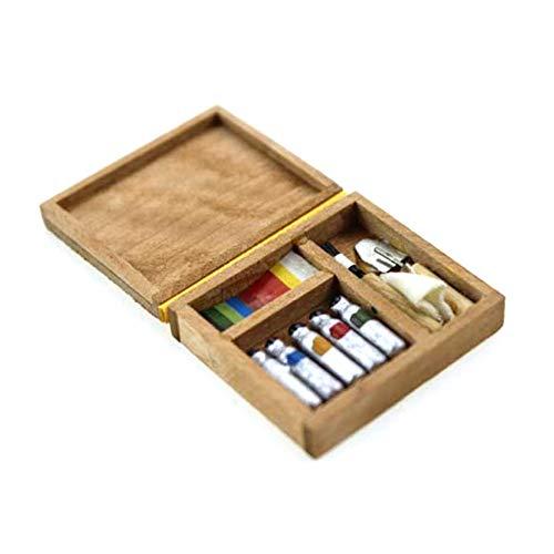 rycnet 1/6 1/12 miniatura de la pintura del artista de la caja de madera del modelo de los juguetes de la casa de muñecas Accesorios - Color de la madera