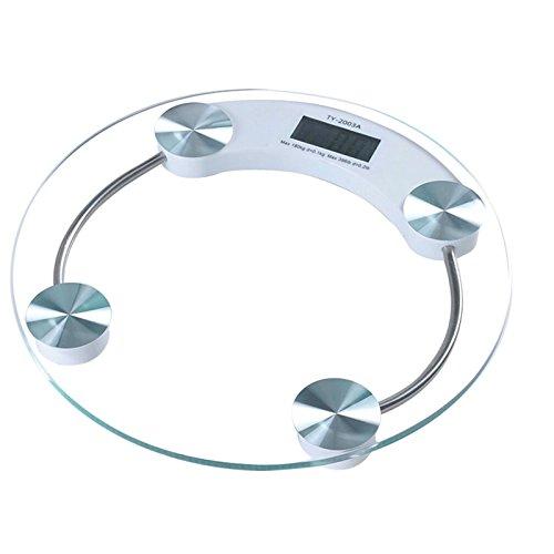 Neue Digitale Personenwaage 180 kg, Glas, Transparent, rund, mit einem Quadratmetergewicht von whosave Waage