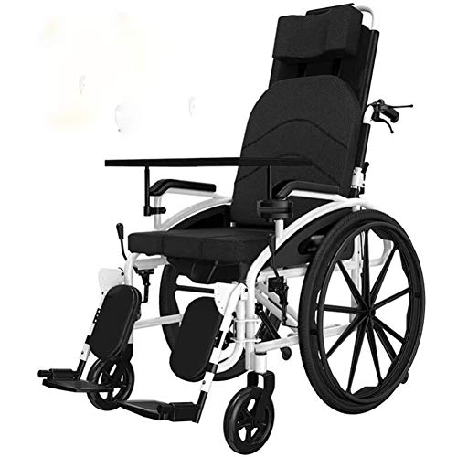 Reclining Wheelchair,Super Lightweight, Aluminium Frame Wheelchair, Folding, Manual Self Propelled, with 18 Inch Quick Release Sports Wheels And 18 Inch Seat