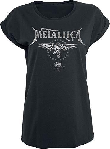 Metallica Biker Mujer Camiseta Negro XL, 100% algodón, Ancho