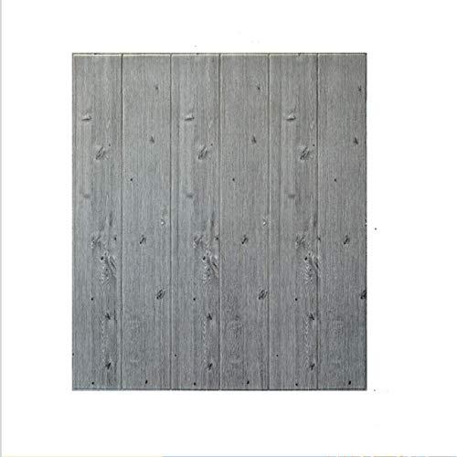 QINDONG Wood Grain Wall Stickers 3D Estéreo Impermeable Anticolisión Pegatinas de Pared TV Fondo de Pared Papel Pintado con Textura de Madera Papel Pintado autovisco (70 * 70 cm) 5 Piezas