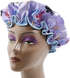 eDealMax púrpura de poliéster de Doble capa impermeable elástico Ducha Baño Salón del Sombrero del casquillo