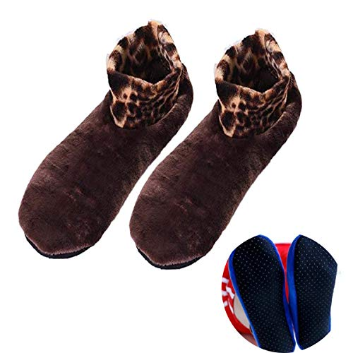 Calcetines térmicos antideslizantes para interiores, calcetines cálidos de invierno con agarre antideslizante, calcetines de leopardo para interiores, Calcetines antideslizantes de doble capa