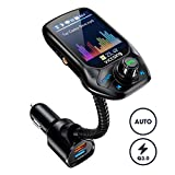 """VicTsing FM Transmitter for Car, (Auto Frequency Tuning) 1.8"""" Color Screen Wireless Radio"""