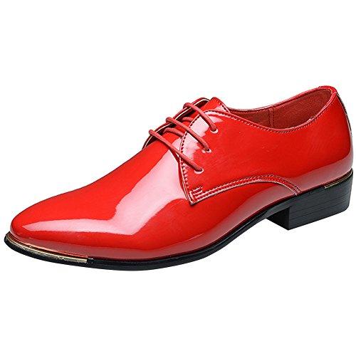 Wealsex Herren Anzugschuhe Hochzeit Derby Lederschuhe Schnürhalbschuhe Oxford Schuhe Smoking Lackleder Rot Etikett 44=EU 43