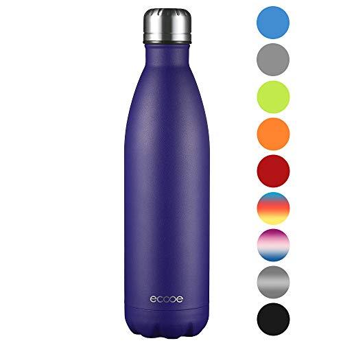 Ecooe Thermosflasche 750ml Doppelwandig Trinkflasche Edelstahl Wasserflasche Vakuum Isolierflasche Blau