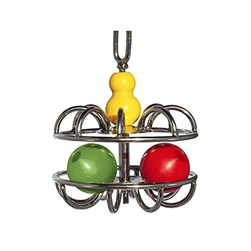 Busy Bird   Impossi-Ball Foraging Bird Toy with Hanging Chain, Quick Link and Treat Compartments - 100% Metal, Ultimate Brain Teaser and Mind Game for Medium to Extra Large Birds
