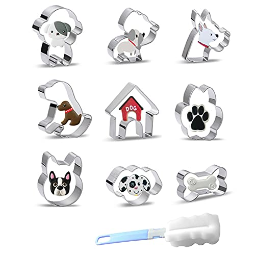 Cookie Cutters Set of 9 pcs, Stainless Steel Pet Dog Cookie Mold, Cartoon Animal Dog Cookie Cutters, Plus a Sponge Cleaning Brush