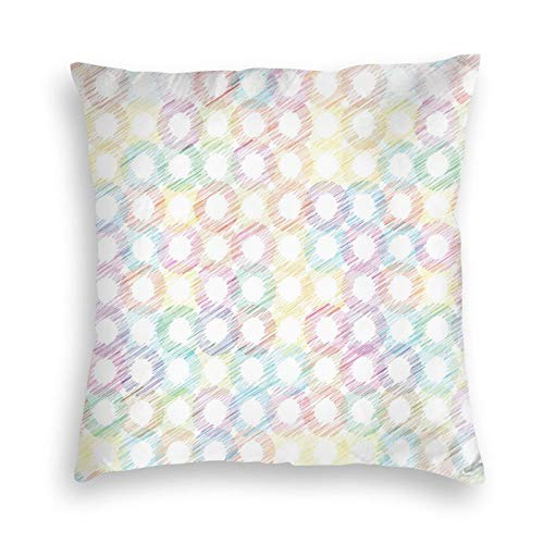FULIYA Ultra Soft Velvet Pillow Cases,Grunge Colorful Disc Shaped Circles Background New Distressed Concept Art Graphic,Pillowcase with Hidden Zipper 18X18 Inches