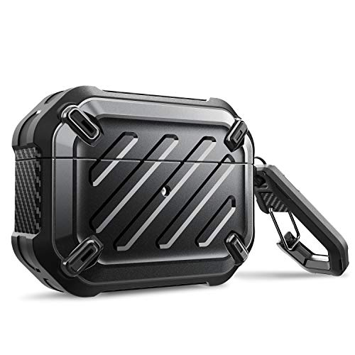SupCase Unicorn Beetle Pro Series Case Designed for Airpods Pro, Full-Body Rugged Protective Case with Carabiner for Apple Airpods Pro (Black)