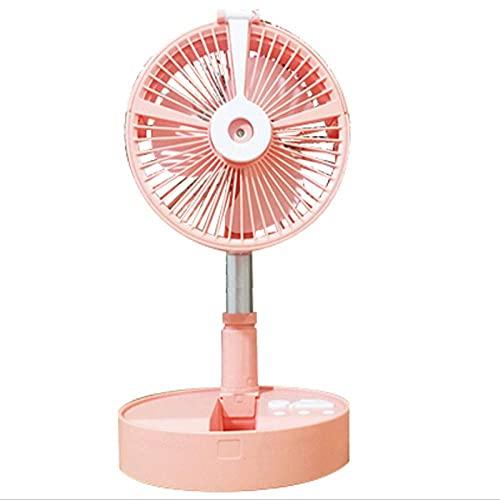 Ventilador portátil Ventilador de pie Ajustable,Ventilador dePiso Plegable y portátil,Ventilador de batería Recargable súper silencioso de 4 velocidades, Rosa