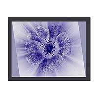 INOV 青い花 ポスター フレーム(黒)付 壁掛け インテリア 壁紙用 絵画 アート 壁紙ポスター 40x30cm
