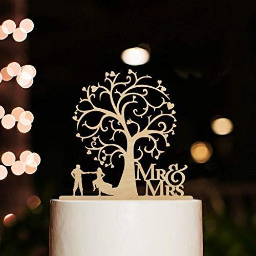 Cake Topper, Mr & Mrs Gâteau Topper Personalized Figurine de Gâteau en Bois pour Les Décorations de Gâteau de Mariage