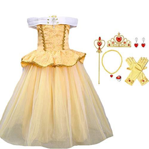 O.AMBW Vestido de Princesa para niña La Bella y la Bestia Traje de Princesa Belle Vestido de Noche en Capas Amarillo Tema de Fiesta de Halloween Disfraz de Cosplay Guantes Collar de Corona Pendientes