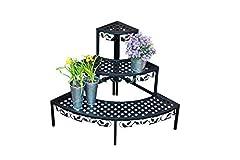 Spetebo hoek bloemtrap met 3 planken zwart - tuin planten trap bloemenbank bloemenrek planten stand *