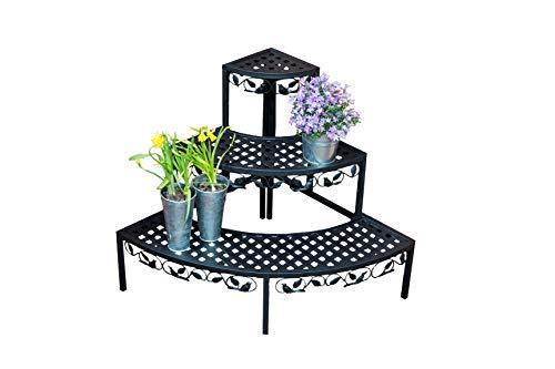 Spetebo Eck Blumentreppe mit 3 Ablagen schwarz - Garten Pflanztreppe Blumenbank Blumenregal Pflanzständer