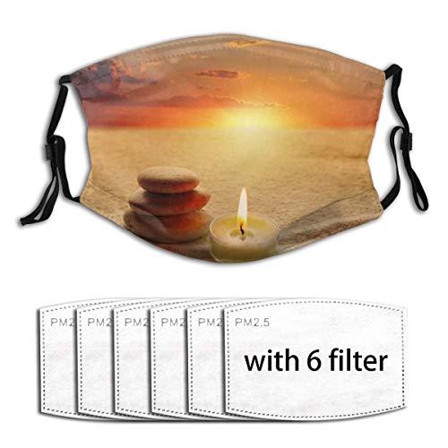 KOSALAER Face Cover Stapel Abendsteine Balance Meditation Kerze Sandstein Himmel Kiesel Zen Natur Japanische Texturen Wiederverwendbare Anti-Staub-Mund-Bandanas mit 6 Filtern