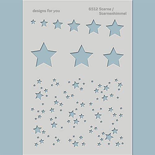 Schablone – Sterne, Sternenhimmel, 6512, Din A4, Kinder, Textilgestaltung, Karten