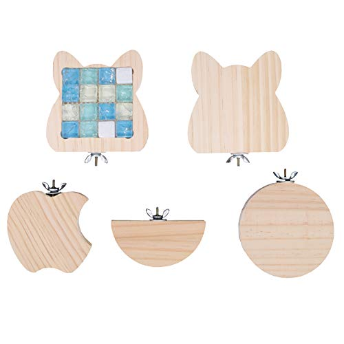 Lot de 5 plateformes en bois naturel pour hamster, perchoirs pour cage à oiseaux pour petits animaux, gerbille, rat, chinchilla, hamster, perroquet, cage à oiseaux, accessoires d'exercice