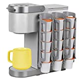 Coffee Pod Holder Side Mount K Cup Pods Dispenser compatible with Keurig Coffee Makers, Perfect for Small Counters (3 Pack/For 15 K-Cups, LIGHT GREY)